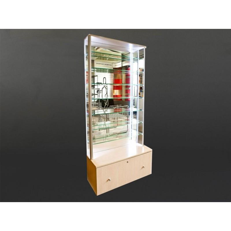 Gablota wystawowa z lustrem i oświetleniem